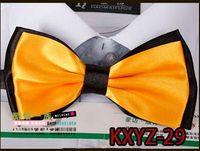 Wholesale 20piece yellow Solid color double layer New Novelty Men s Unique Tuxedo Bowtie Bow Tie Necktie