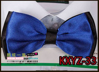 Wholesale 20pcs dark blue Solid color double layer New Novelty Men s Unique Tuxedo Bowtie Bow Tie Necktie