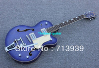 Solid Body white falcon - good quality Blue Falcon with bigbys Hollow Jazz Guitar high quality best Musical