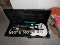 Solid Body 6 Strings Basswood Wholesale New Double neck SG 1275 white electric guitar gold hardware with case