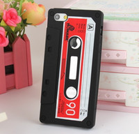 Wholesale 500pcs High quality Mobile Phone Cassette Tape Silicon Case Skin Cover for iPhone G