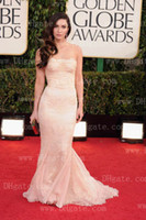 Trumpet/Mermaid Sexy Lace 70th Golden Globes MEGAN FOX Mermaid Champagne Celebrity Dresses with Tulle Lace