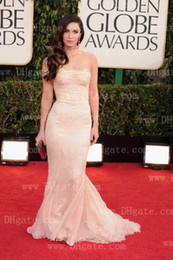 Wholesale 70th Golden Globes MEGAN FOX Mermaid Champagne Celebrity Dresses with Tulle Lace