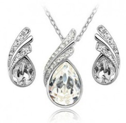 Wholesale Korea White Gold Plated Necklace stud Earrings Make With Swarovski Elements high grade Crystal Jewelry LM S022