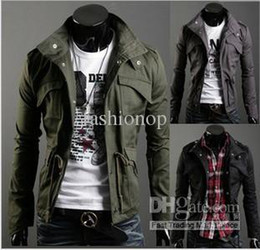 Wholesale Hottest Man Outwear Fashion Add Cotton Black Grey Leisure Coat Pocket Cultivate Morality Men Coat YZMY