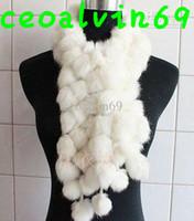 Wholesale Women s Fur Scarves Fur Ball velvet Rabbit Long style Woman Winter white Scarves