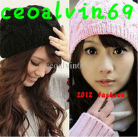 Wholesale 2012 Autumn Winter Knitting Wool Hat for Women Caps Lady Beanie Knitted Hats Caps
