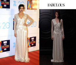 Wholesale 2013 Sexy Gloden Gobles DEEPIKA PADUKONE Long Sleeves V Neck Gold Sequins Celebrity Dresses