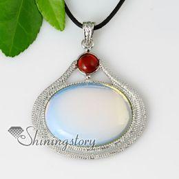 oval semi precious stone glass opal agate necklaces pendants jewelry