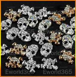 Wholesale 50 D Alloy Skull Skeleton Head Rhinestones Nail Art Glitters DIY Decorations