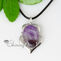 Wholesale Cheap Glasses Stones - teardrop semi precious stone amethyst tiger's-eye glass opal rose quartz jade necklaces pendants cheap fashion jewelry