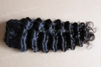 Wholesale MixLength Unprocessed quot quot Malaysian Virgin Remy Hair Weft Natural Color Weave Deep Wave g