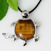 Women's turtle pendant - turtle semi precious stone rose quartz amethyst jade tiger s eye necklaces pendants