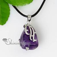 Women's amethyst butterfly pendant - butterfly openwork semi precious stone amethyst necklaces pendants jewelry