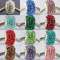 Wholesale 14MM New Resin Rhinestone Multicolor Crystal Beads Silver Plated Core Big Hole Crystal European Bea