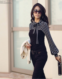Wholesale new fashion women Korea striped bow T shirt slim long sleeve shirts tops free size