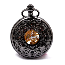 Wholesale 5pcs Church Art Flower Fretwork Black Skeleton Hunter Pocket Watch Chain Men Fashion Vine Design Steampunk Mechanical Fob Watches Gift
