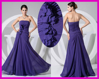 Wholesale Purple Strapless Chiffon Flowers Long Bridemaid Bridesmaid Dress Dresses B1866