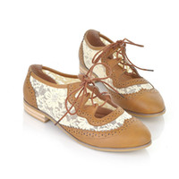 Wholesale Women Casual Shoes Fashion Flat Shoes Lace Leather Shoes Ladies Brown Caual Shoes