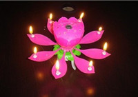 Wholesale 10pcs Lotus Flower Candle Birthday Party Cake Musical Candle Sparkle