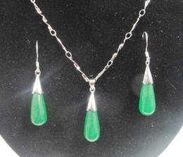 Free Shipping 925 silver Green jade water droplets earrings + necklace Valentine's Day gift