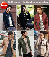 Wholesale New style Men jacket mens cotton denim Slim sportsman fashion jacket Army Multicolor green clothing