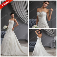 Wholesale 2013 Sweetheart A Line Shiny Crystals Beaded Appliques Wedding Dresses Corset Chapel Train Bridal