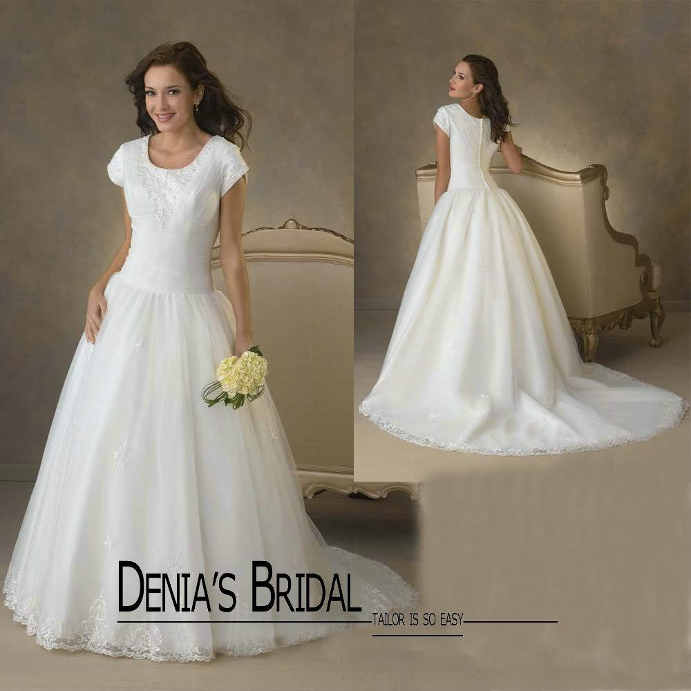 Short ball gown wedding dress with sleeves gowns ideas for Short modest wedding dresses