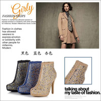 Wholesale Women Dress Shoes Ankle Boots Luxury High Heel Shoes Europ Design Colors Rivet Boots