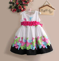 Wholesale Girl Flower Party Dress Brand Elegant Dresses Girls Printed For New Year Unique Parties Kids Clothes