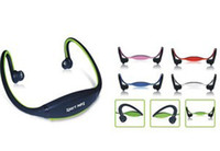 Wholesale Sport MP3 Player Wrap Around Headphones with TF Card Slot Green Blue Red Colors