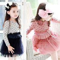 Wholesale Girl s dress Princess one piece dress autumn baby Tutu dress Girl s dot Bow veil dress