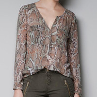 Wholesale Hot fashion ladies chiffon blouses V neck long sleeve snake prints sexy blouse women leisure tops