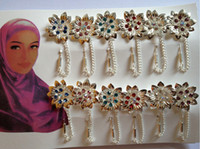 Wholesale Hot Selling Factory Price Brooches MSL Muslim Colorful Flower Hijab Pins