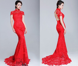Wholesale Red High Colar Short Sleeves Open Back Lace Sheath Cheongsam Wedding Dresses HST001