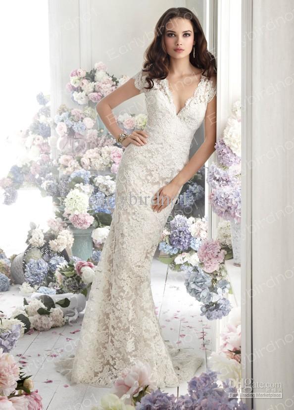 2013 Sexy V Neck Mermaid Lace Wedding Dresses New Short Sleeves ...