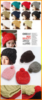 Wholesale 10 Women Ladies Wool Knit Knitted Beanie Vintage Bobble Winter Cap Pom Pom Ski Hat