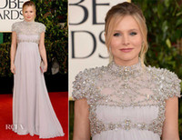 Wholesale 2013 th Golden Globe awards Red Carpet Dresses risten Bell Dress Beaded Pageant Chiffon Dresses