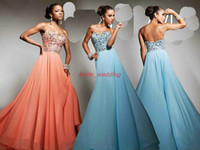 Wholesale Jacinth Blue Prom Dress Tony Bowls Swarovski Crystals Beaded Corset Bodice Ruffle Party Dress Full
