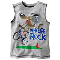 Wholesale Jumping Beans Children T shirts Gray Bike Boy Sleeveless T shirts Children Clothes
