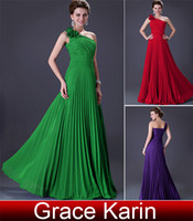 Wholesale Grace Karin New A line Bridesmaid Gown Sexy Party Gown One Shoulder Evening Dresses CL3801