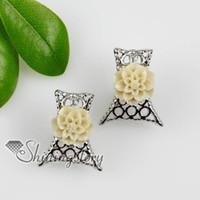 assorted european Women's flower openwork plastic cement earrings stud ear pins jewelry