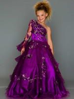 Wholesale Purple Unique One Shoulder Glitz Long Sleeves Suger Girls Pageant Dresses Sequins Embroidery Beaded