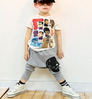 Christmas korea kids style - ISSOKIDS Children Boys Harem Pants Grey Human Skeleton Print Minites Korea Style Kids Pant