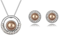Wholesale Pearl Pendant Necklace Earring sets Classic Jewelry Sets make with Swarovski Elements Colors