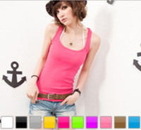 Polyester Women Spaghetti Fashion sexy women girl pure vest tank tops Tshirts colorful beach clothing shirts xmas beautiful gift