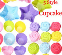 cake tins - 5 styles Tin Liner Baking Cup Mold Mould pudding cup Silicone Cake Muffin Chocolate Cupcake Case