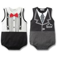 Boy baby fake - Boy onesies Baby clothes Boy Gentleman One Piece Bodysuit Fake Tie Red Bow Tie