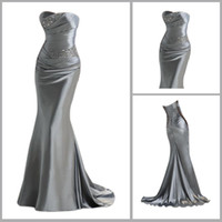 Wholesale 2012 Hot Sale Cheap Strapless Mermaid Silver Evening Gown With Beading Bridesmaid Dress LFC035