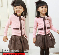 Wholesale Girl s suits Girl s pieces suits Girl s long sleeve Cardigan outerwear skirt Girl dress suits